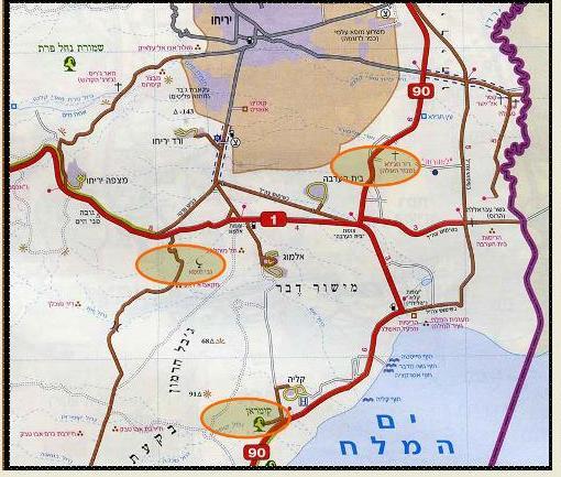 """מפת אזור קומראן (בעיגול למטה). על פי מצגת של מכון אבשלום. מדריך ד""""ר מיקי הדר."""